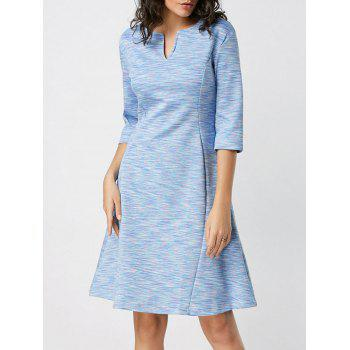 Split Neck Heathered Fit and Flare Dress