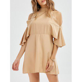 Cold Shoulder Mock Neck Mini Dress