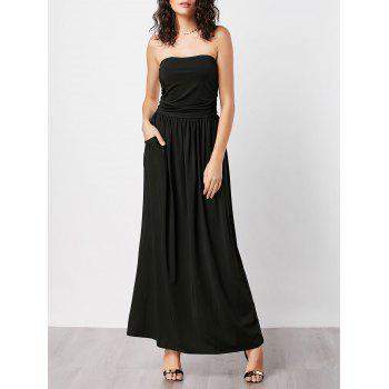 Strapless Floor Length Pockets Dress