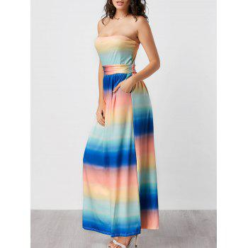 Strapless Ombre Pockets Maxi Dress