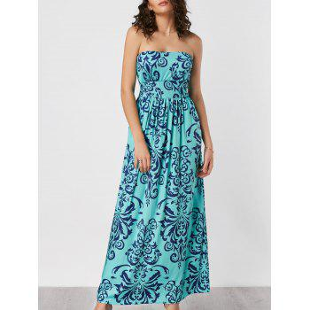 Strapless Printed Pockets Maxi Dress