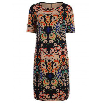 Plus Size Funny Printed Knee Length Tee Dress