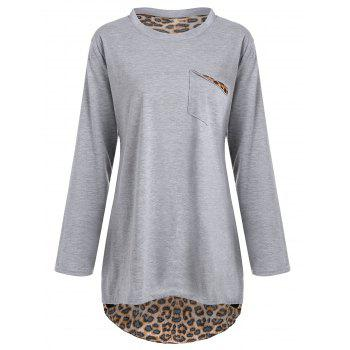 Plus Size Long Sleeve Leopard High Low T-shirt