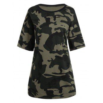 Plus Size Round Neck Camouflage T-shirt