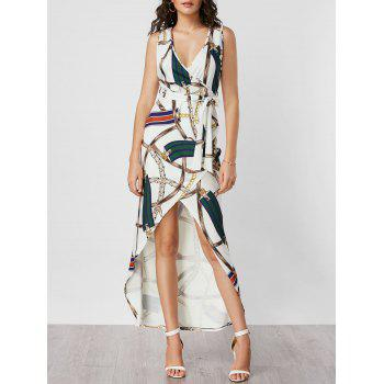 Plunging Neck Printed Belted High Low Dress