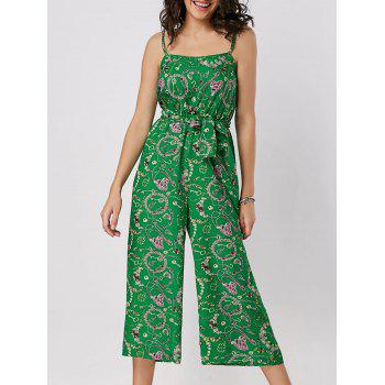 Spaghetti Strap Printed Belted Wide Leg Jumpsuit