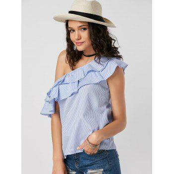 Skew Collar Layer Flounce Striped Blouse - S S