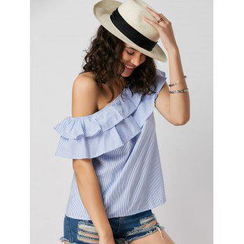 Skew Collar Layer Flounce Striped Blouse - BLUE STRIPE BLUE STRIPE