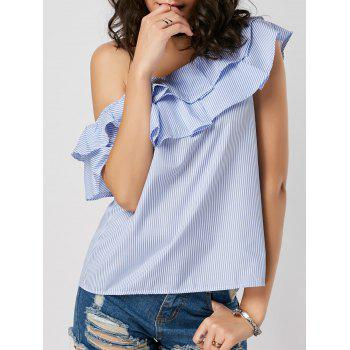 Skew Collar Layer Flounce Striped Blouse
