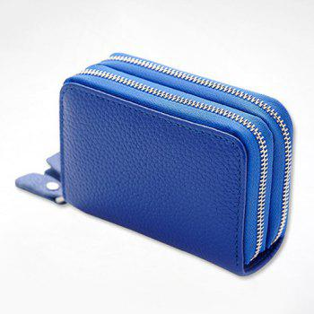 Zipper Around Faux Leather Card Bag - Bleu