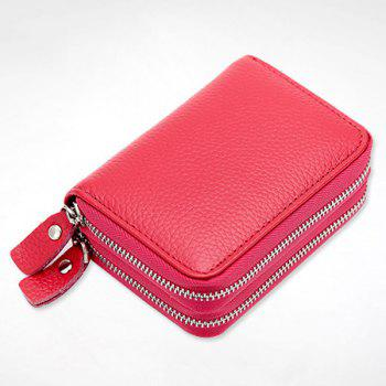 Zipper Around Faux Leather Card Bag -  ROSE RED