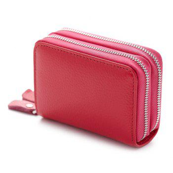 Zipper Around Faux Leather Card Bag - ROSE RED ROSE RED