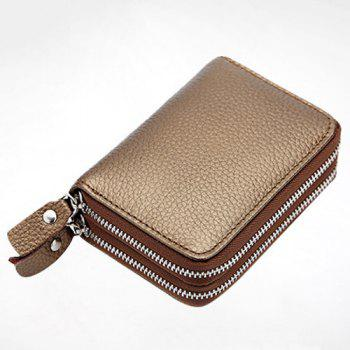 Zipper Around Faux Leather Card Bag -  BRONZE COLORED