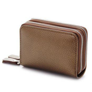Zipper Around Faux Leather Card Bag - BRONZE-COLORED BRONZE COLORED