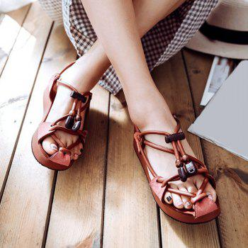 Faux Leather Wedge Heel String Sandals