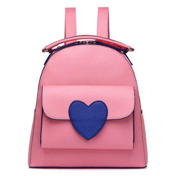 Heart Patch PU Leather Backpack