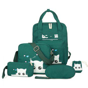 Cat Print Canvas 5 Pcs Backpack Set