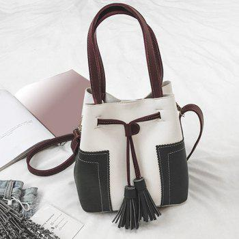 Drawstring Tassel Color Block Handbag