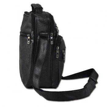 Multi Zippers Faux Leather Crossbody Bag - BLACK
