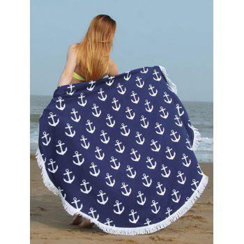 Round Anchor Print Fringed Trim Beach Towel