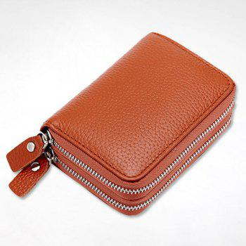 Zipper Around Faux Leather Card Bag -  EARTHY