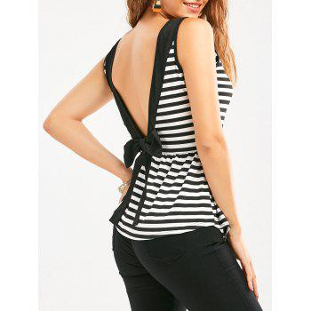 Bowknot Sleeveless Backless Striped Flowy T-Shirt