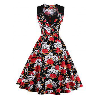 Vintage Skull Print Fit and Flare Dress