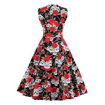 Vintage Skull Print Fit and Flare Dress - RED S