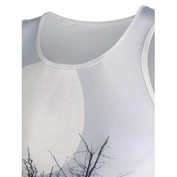 3D Ombre Plant Moon Print Tank Top - WHITE 2XL