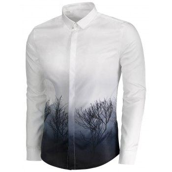 Ombre Plant Moon 3D Print Cover Placket Shirt