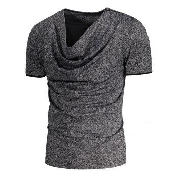 Heaps Collar Shoulder Zip Up Design T-shirt