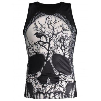 3D Skull and Deadwood Print Tank Top - M M