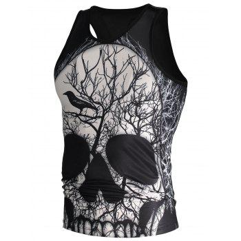 3D Skull and Deadwood Print Tank Top - BLACK M