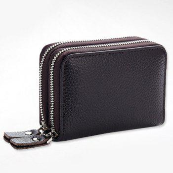 Zipper Around Faux Leather Card Bag -  COFFEE