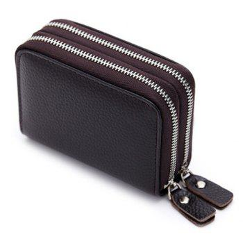 Zipper Around Faux Leather Card Bag - COFFEE COFFEE
