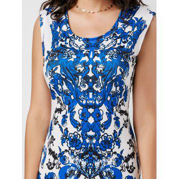 Sleeveless Ornate Print Bodycon Dress - WHITE L