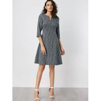 Split Neck Heathered Fit and Flare Dress - DEEP GRAY XL