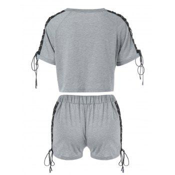Raglan Sleeve Lace-Up T-shirt et Shorts - Gris 2XL