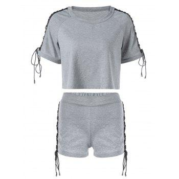 Raglan Sleeve Lace Up T-shirt and Shorts - GRAY M