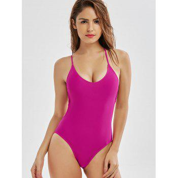 Cross Back Low Back One-Piece Swimsuit - ROSE MADDER S