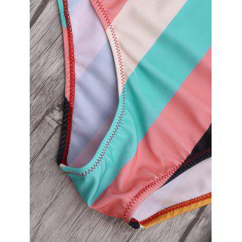 Colorful Stripe Backless One Piece Swimsuit - COLORMIX L