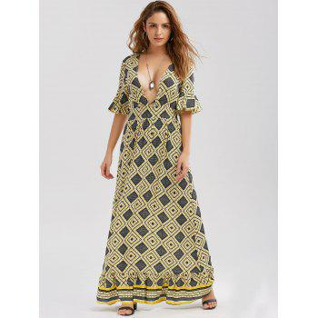 Printed Plunging Neck Floor Length Dress - YELLOW XL