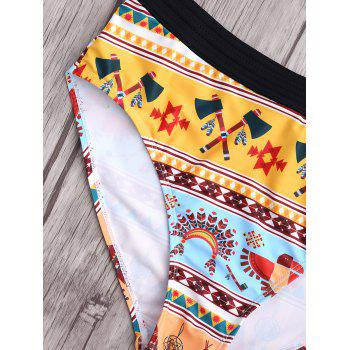 Cut Out Strapless Print High Waist Swimwear - COLORMIX S