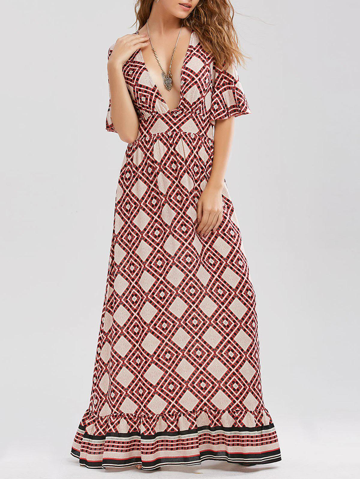 Printed Plunging Neck Floor Length Dress - RED S