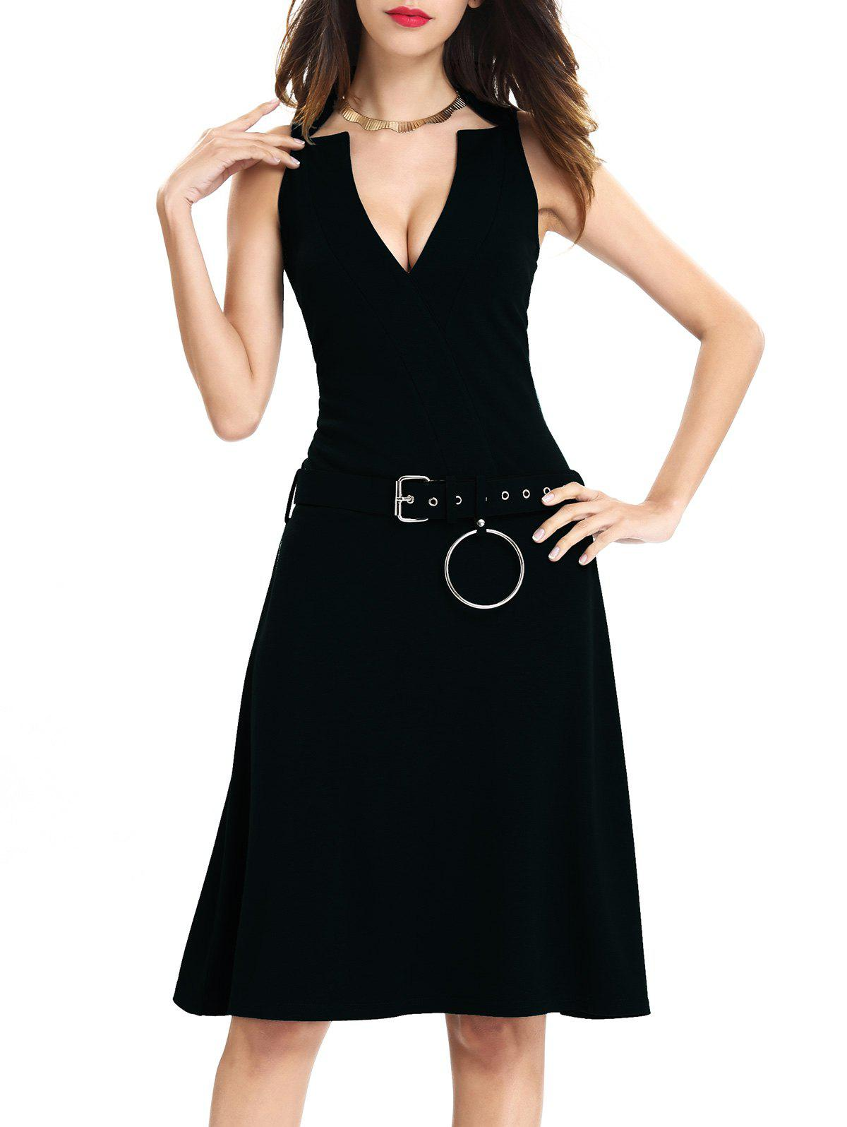 Sleeveless O Ring Belted Dress - BLACK M