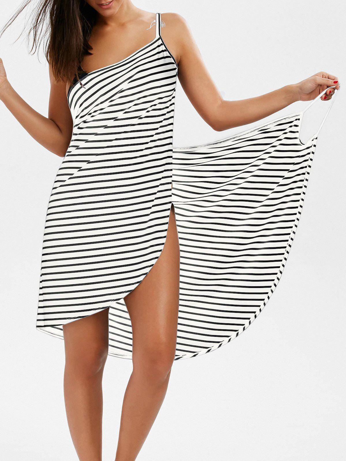 Striped Open Back Multiway Wrap Cover-ups Dress zebra print open back wrap cover ups dress