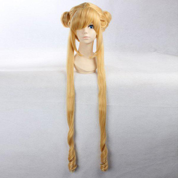 Anime Side Bang Long Straight Bunches Costume Sailor Moon Cosplay Wig - YELLOW 30INCH