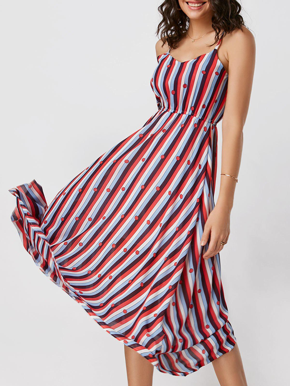 Spaghetti Strap Striped High Waisted Dress - COLORMIX L