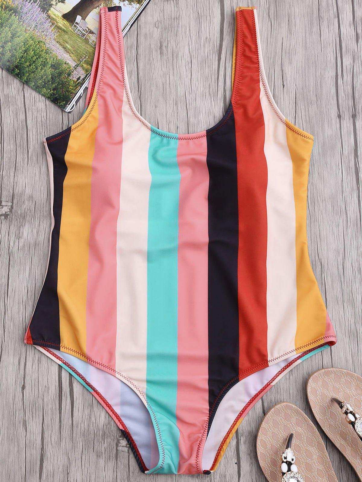 Colorful Stripe Backless One Piece Swimsuit orange stripe backless one piece swimsuit