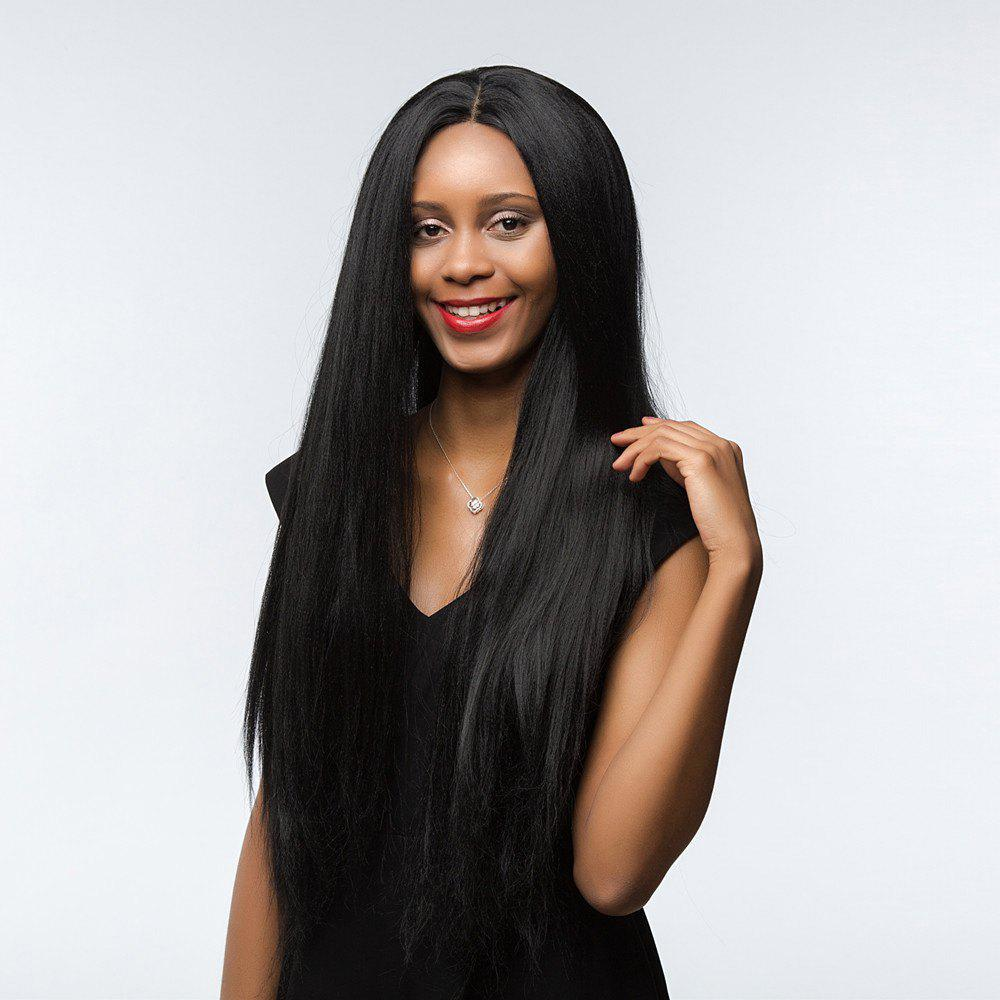 Dyed Perm Center Parting Shaggy Long Straight Synthetic Wig - JET BLACK 24INCH